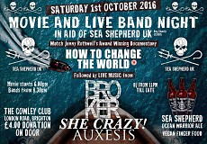 Sea Shepherd movie & band night with Broker, She Crazy & Auxesis